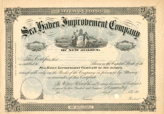 Sea Haven Improvement Company - Stock Certificate