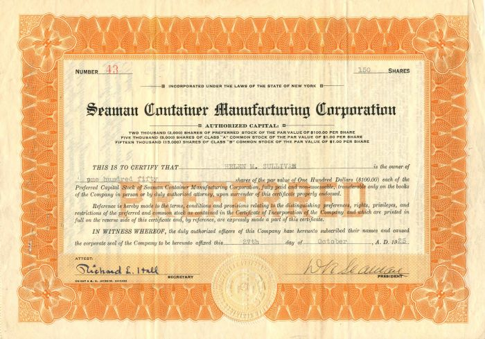 Seaman Container Manufacturing Corporation - Stock Certificate