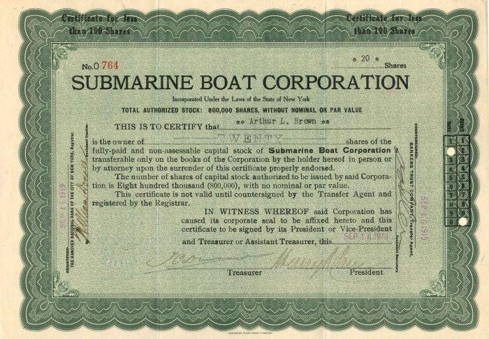 Submarine Boat Corporation - Stock Certificate