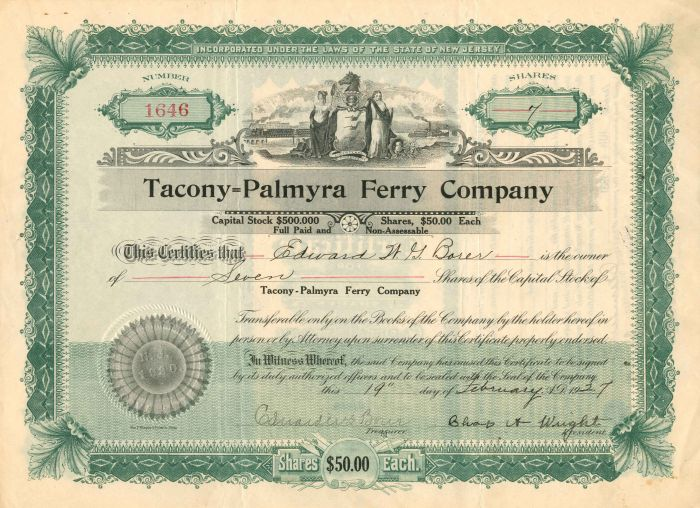 Tacony=Palmyra Ferry Company - Stock Certificate