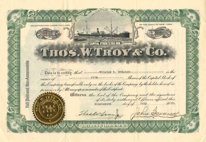 Thos. W. Troy and Co. - Stock Certificate