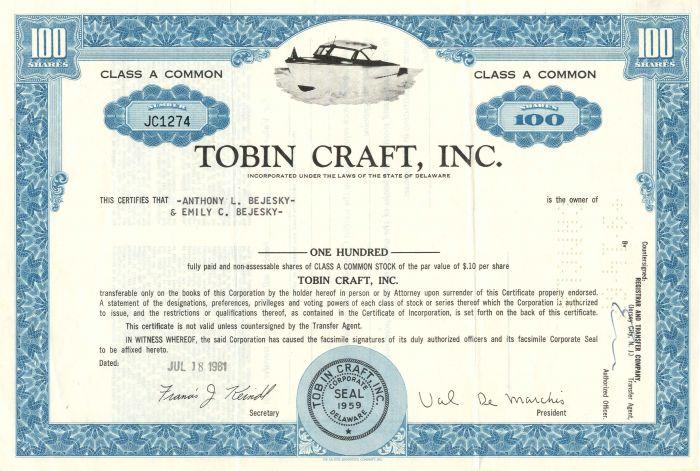 Tobin Craft, Inc. - Stock Certificate