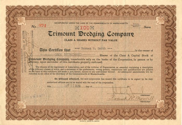 Trimount Dredging Company - Stock Certificate