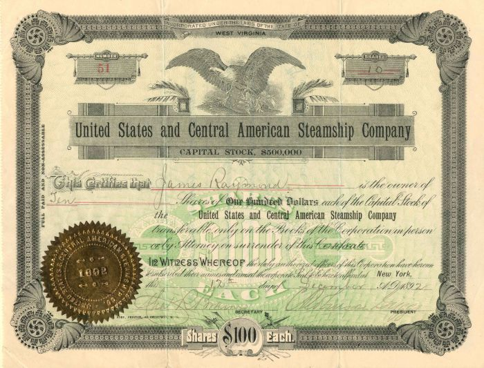 United States and Cental American Steamship Company - Stock Certificate