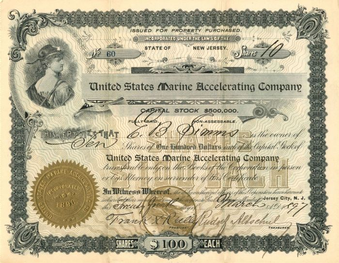 United States Marine Accelerating Company - Stock Certificate