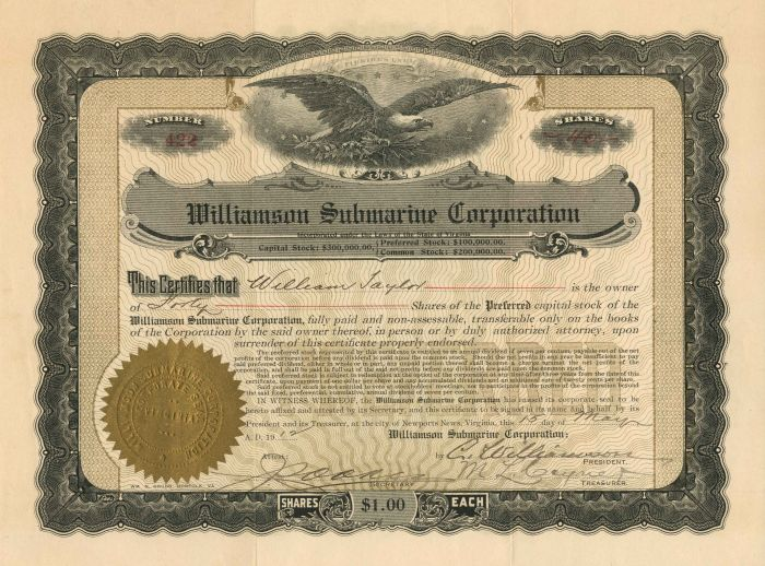 Williamson Submarine Corporation - Stock Certificate