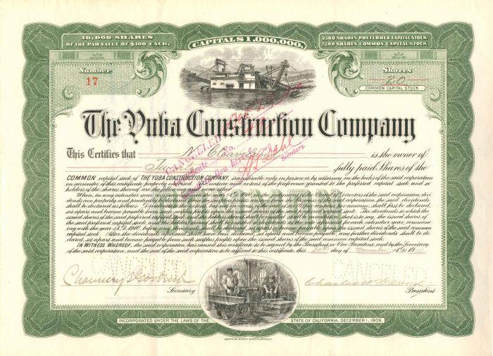Yuba Construction Company - Stock Certificate