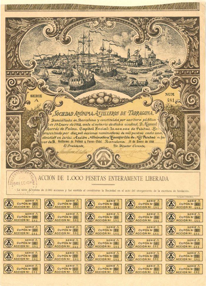 Sociedad Anonima Astilleros De Tarragona - Stock Certificate