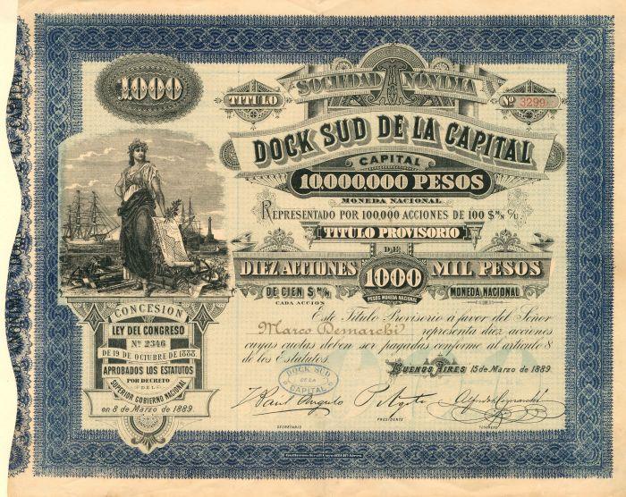 Sociedad Nonima Dock Sud De La Capital - Stock Certificate