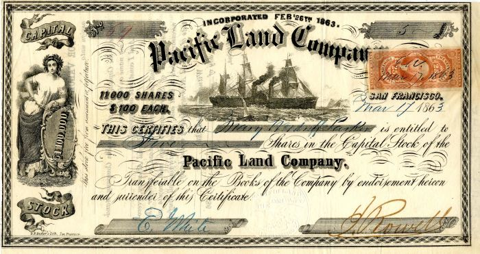 Pacific Land Company - Stock Certificate
