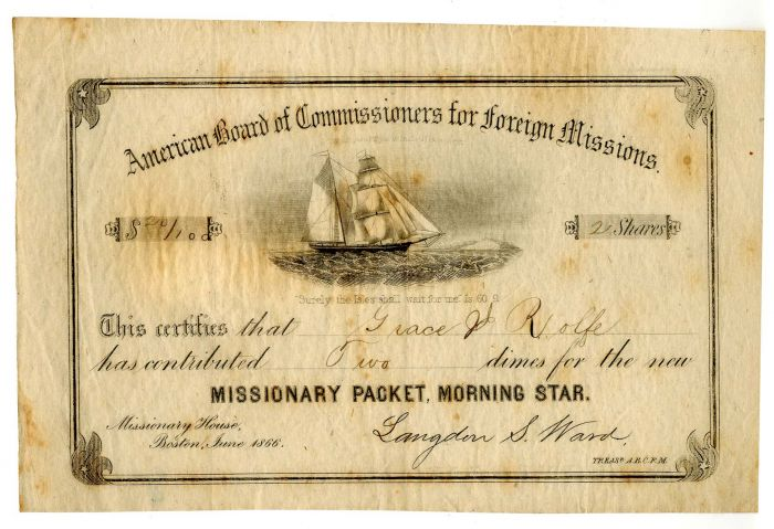 American Board of Commissioners for Foreign Missions - Stock Certificate