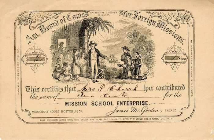Am. Board of Coms. for Foreign Missions - Stock Certificate