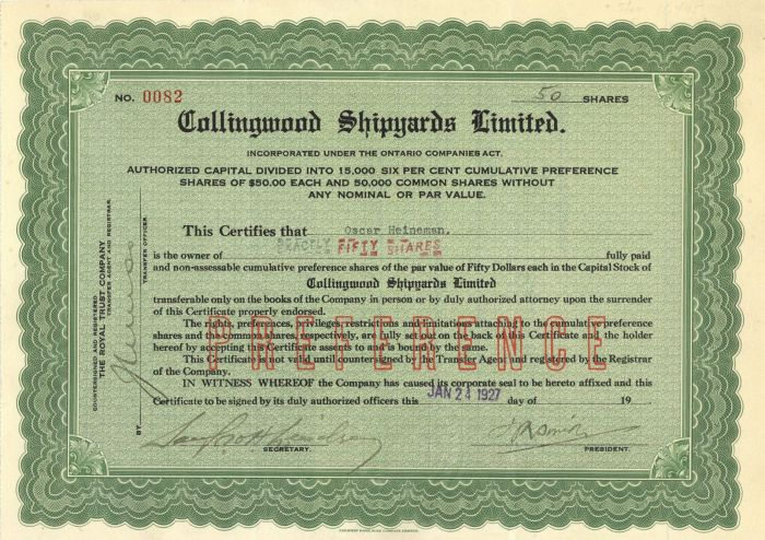 Collingwood Shipyards Limited - Stock Certificate
