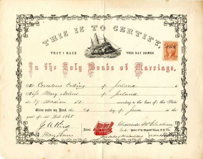 Marriage Certificate with Stamp