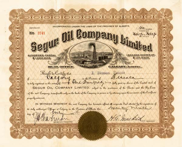 Segur Oil Company ltd - Stock Certificate