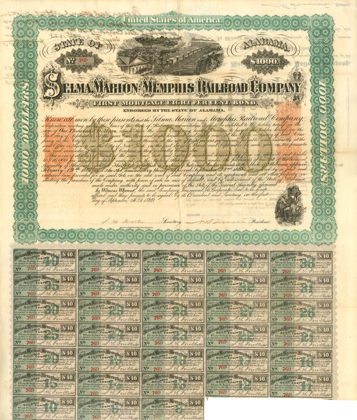 Selma, Marion and Memphis Railroad Company $1000 - SOLD