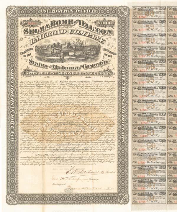 Selma, Rome & Dalton Railroad - Bond
