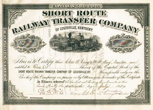 Collis P. Huntington - Short Route Railway Transfer Company of Louisville, Kentucky - Stock Certificate