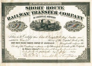 Collis P. Huntington - Short Route Railway Transfer Company of Louisville, Kentucky - SOLD