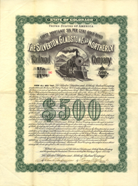 Silverton Gladstone & Northerly Railroad Company $500 Bond - SOLD