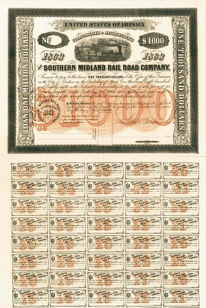 Southern Midland Railroad - Unissued - Gorgeous - Bond