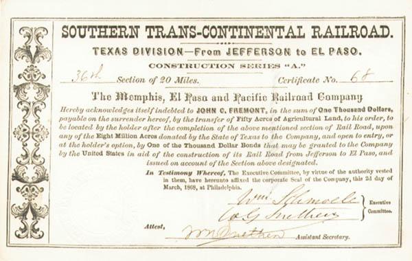 John C. Fremont - Southern Trans-Continental Railroad