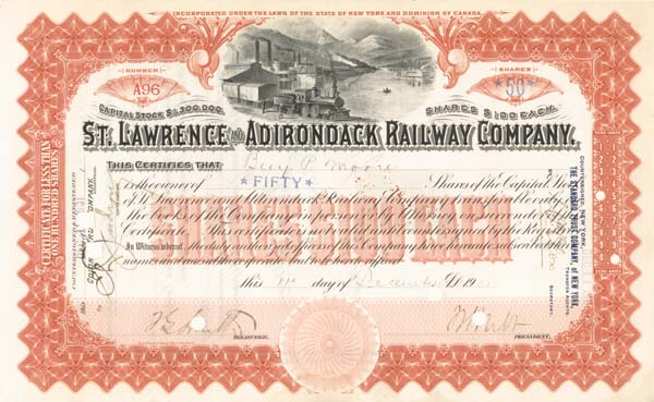William Seward Webb - St. Lawrence and Adirondack Railway - Stock Certificate