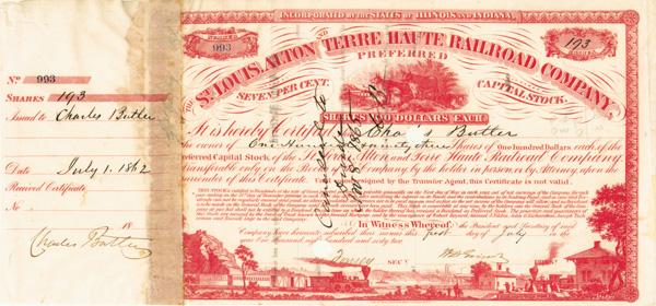 Charles Butler - St. Louis, Alton & Terre Haute Railroad - Stock Certificate