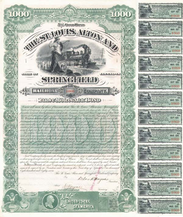 St. Louis, Alton and Springfield Railroad - Bond