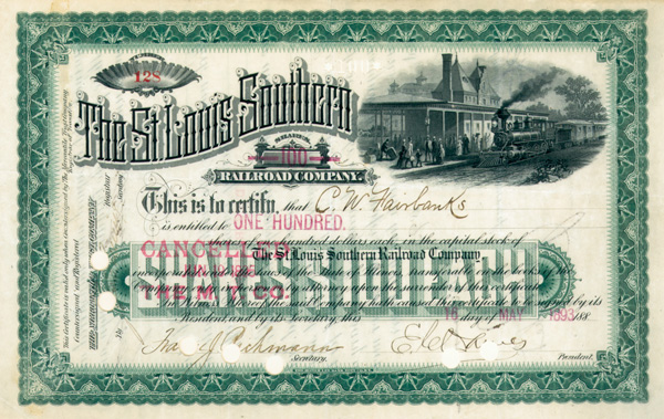 Charles W. Fairbanks - St. Louis Southern Railroad - Stock Certificate
