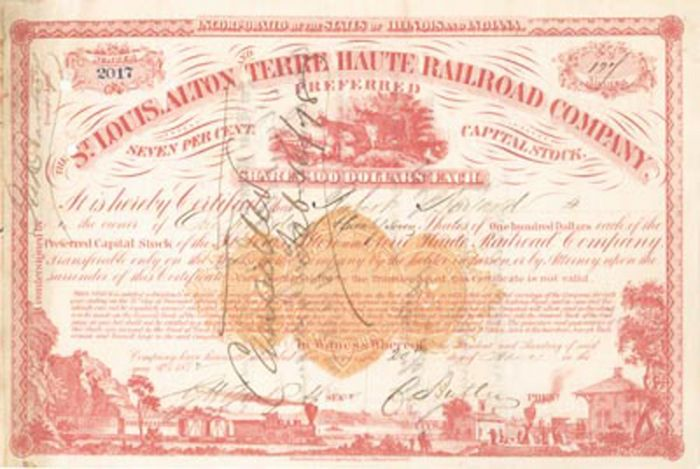Charles Butler - St. Louis, Alton and Terre Haute Railroad Company - Stock Certificate