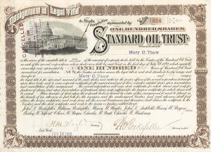 Standard Oil Trust issued to and signed by William Rockefeller
