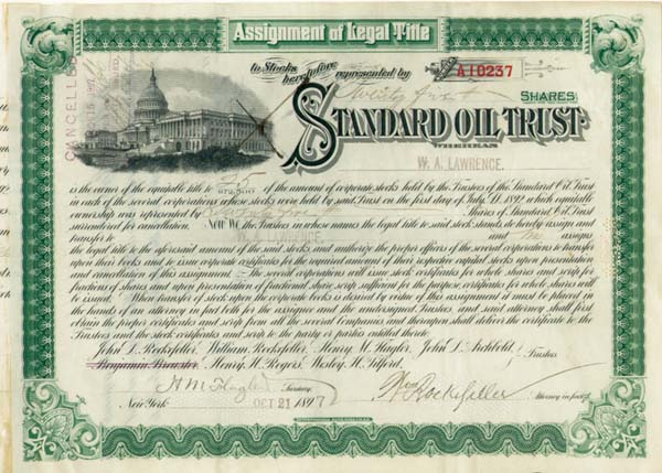 standard oil trust The exxonmobil historical collection consists of records,  rockefeller and partners formed the standard oil trust to unify what then numbered about 40 companies.