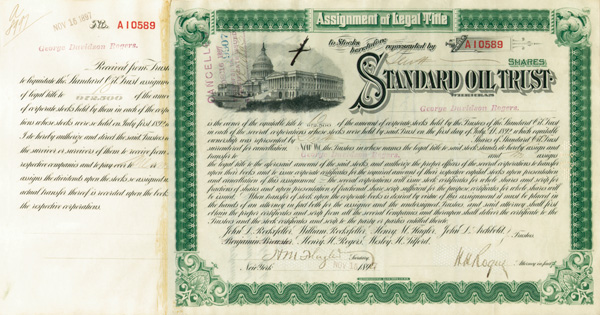 Standard Oil Trust issued to and signed by George Davidson Rogers - Also signed by H. H. Rogers and H. M. Flagler