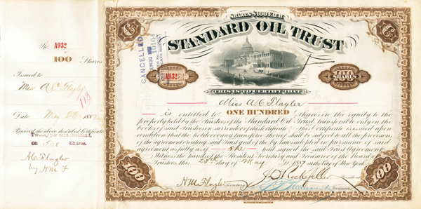 Standard Oil Trust issued to and signed by Miss A. C. Flagler as well as John D. Rockefeller, H. M. Flagler - Stock Certificate