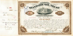 Standard Oil Trust issued to and signed by Miss A. C. Flagler as well as John D. Rockefeller, H. M. Flagler