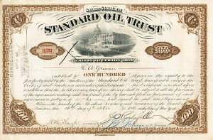 Standard Oil Trust signed by John D. Rockefeller and Clement A. Griscom