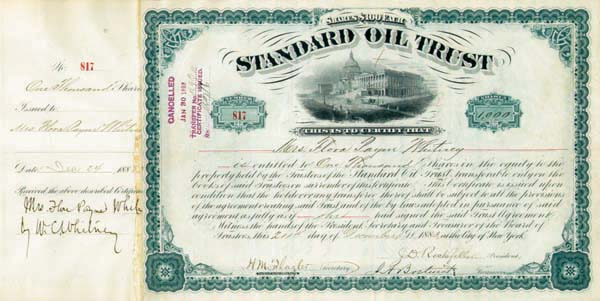Standard Oil Trust issued to and signed by W. C. Whitney - Stock Certificate