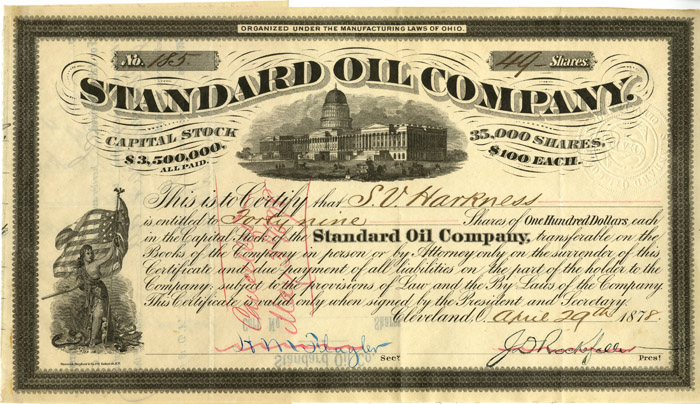 Standard Oil Signed by Rockefeller, Harkness, and Flagler - SOLD