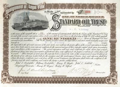 Standard Oil Trust Stock signed by John D. Archbold and Wesley H. Tilford