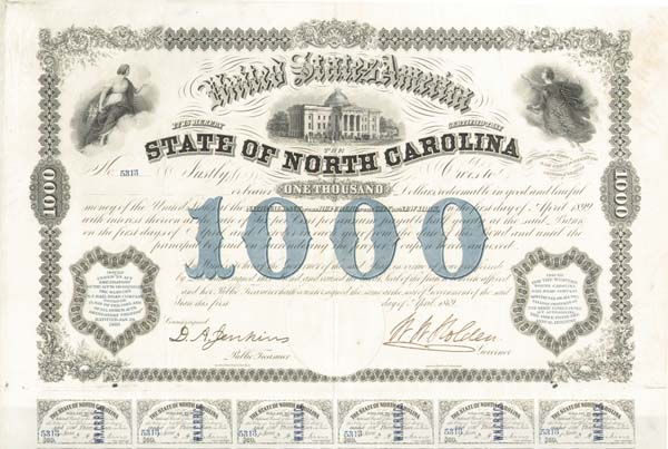 State of North Carolina - 1869 $1,000 Bond