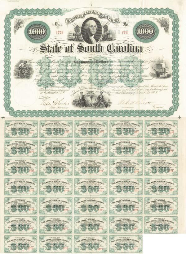 State of South Carolina Bond signed by Robert Kingston Scott