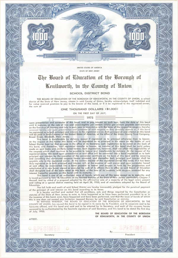 State of New Jersey - Board of Education of the Borough of Kenilworth, in the County of Union - Bond - SOLD