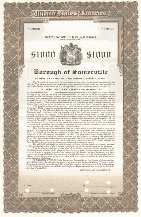 State of New Jersey - Borough of Somerville - Bond - SOLD