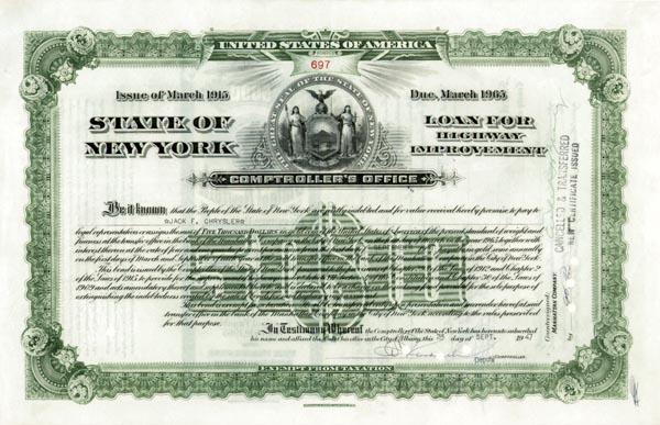 Jack F. Chrysler - State of NY Bond