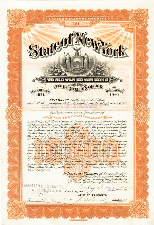 Frederick W. Vanderbilt - State of New York World War I Bonus Bond (Uncanceled)