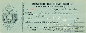 Al Smith signed Check as Governor - SOLD
