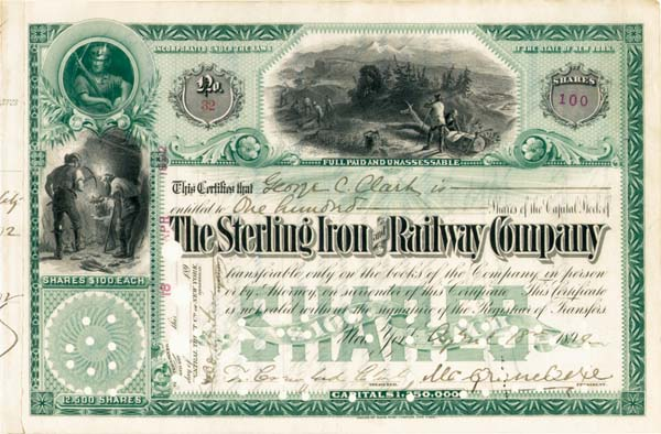 E. H. Harriman - Sterling Iron and Railway Company - Stock Certificate