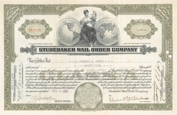 Clement Studebaker III - Studebaker Mail Order Co - Stock Certificate - SOLD