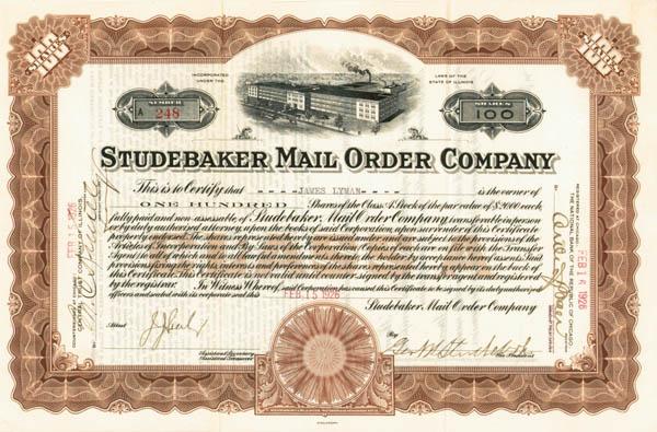 George W. Studebaker - Studebaker Mail Order Co - Stock Certificate